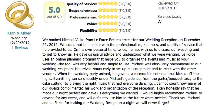 Dallas Wedding DJ LeForce Entertainment Orion Ballroom Review
