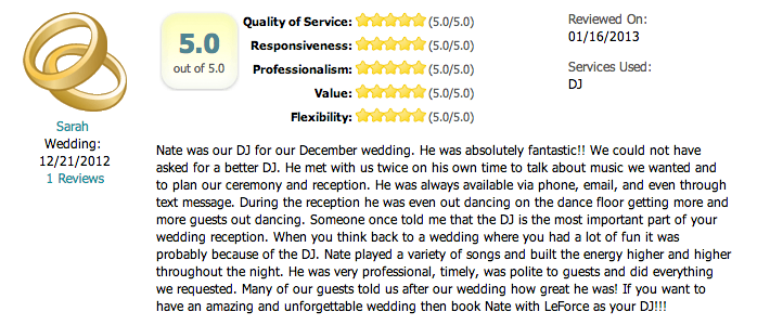 Dallas Wedding DJ LeForce Entertainment Review Fairy Tale Manor